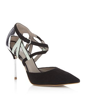 Amelia Suede Pump - predominant colour: black; material: suede; heel height: high; embellishment: animal print; ankle detail: ankle strap; heel: stiletto; toe: pointed toe; style: courts; pattern: animal print