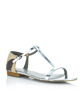 Myrtle Leather Sandal - predominant colour: silver; material: leather; heel height: flat; ankle detail: ankle strap; heel: standard; toe: open toe/peeptoe; style: strappy