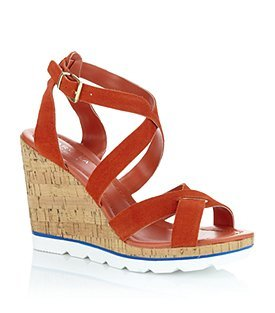 Kinder Suede Sandal - predominant colour: bright orange; material: suede; heel height: high; ankle detail: ankle strap; heel: wedge; toe: open toe/peeptoe; style: strappy