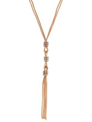 Gold Drape Tassel Necklace - predominant colour: gold; style: tassel; length: mid; size: standard; material: chain/metal