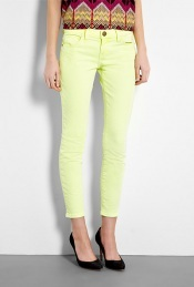 Washed Neon Yellow Stiletto Skinny - style: skinny leg; pattern: plain; pocket detail: traditional 5 pocket; waist: mid/regular rise; predominant colour: primrose yellow; occasions: casual, evening; length: ankle length; fibres: cotton - stretch; material texture: denim; trends: pastels, brights; texture group: denim; pattern type: fabric; pattern size: standard