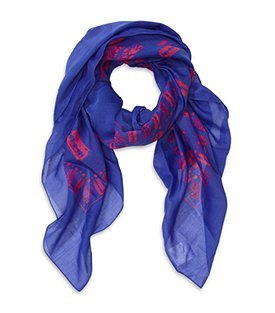 Razorblade Scarf - predominant colour: royal blue; type of pattern: light; style: square; size: large; material: silk; pattern: graphic print, patterned/print