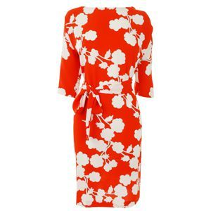 Floral Print Maja Dress - style: shift; neckline: slash/boat neckline; pattern: lightly patterned, patterned/print; waist detail: belted waist/tie at waist/drawstring; predominant colour: true red; occasions: casual, occasion; length: just above the knee; fit: body skimming; fibres: polyester/polyamide - 100%; material texture: chiffon; trends: prints; sleeve length: 3/4 length; sleeve style: standard; texture group: sheer fabrics/chiffon/organza etc.; pattern type: fabric; pattern size: small & light
