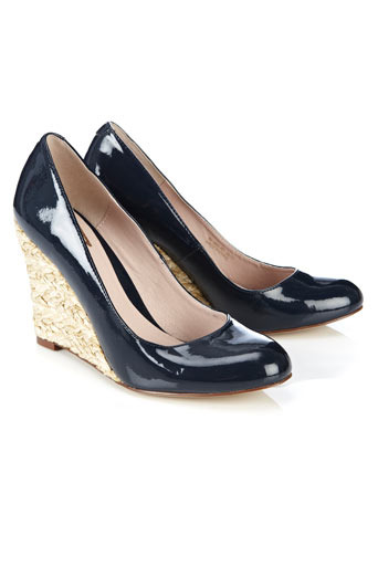 Navy Patent Raffia Wedge - predominant colour: navy; material: faux leather; heel height: high; heel: wedge; toe: round toe