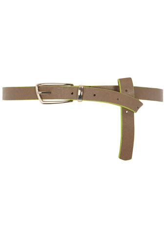 Grey Edge Painted Skinny Belt - predominant colour: mid grey; style: classic; size: skinny; worn on: waist; material: faux leather; pattern: plain