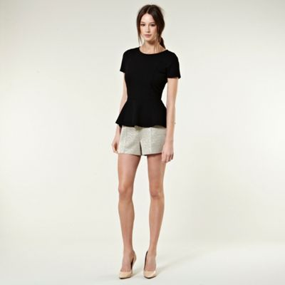 Jacquard Shorts - style: shorts; waist detail: fitted waist; length: short shorts; waist: mid/regular rise; predominant colour: champagne; occasions: casual, evening; fibres: polyester/polyamide - 100%; material texture: metallic; hip detail: front pleats at hip level; trends: prints, aquatic; fit: slim leg