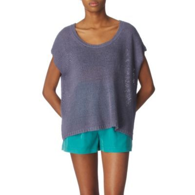 Knitted Silk Jumper - neckline: scoop neck; sleeve style: dolman/batwing; pattern: plain, holey knit; style: standard; predominant colour: navy; occasions: casual, evening, work; length: standard; fibres: silk - 100%; material texture: jersey; hip detail: ruching/gathering at hip; trends: pastels; pattern type: knitted - other; pattern size: standard; texture group: jersey - stretchy/drapey