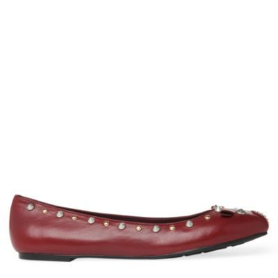 Mouse Studded Pumps - predominant colour: burgundy; material: leather; heel height: flat; embellishment: studs; toe: round toe; style: ballerinas / pumps