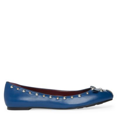 Mouse Studded Pumps - predominant colour: royal blue; material: leather; heel height: flat; embellishment: studs; toe: round toe; style: ballerinas / pumps