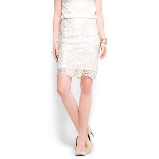 Women&#x27;s Laced Pencil Skirt, Cream - pattern: plain, lace; style: pencil; fit: tailored/fitted; waist detail: fitted waist; hip detail: fitted at hip; waist: mid/regular rise; predominant colour: ivory; occasions: evening, occasion; length: just above the knee; fibres: polyester/polyamide - mix; material texture: lace; trends: white; texture group: lace; pattern type: fabric; pattern size: standard