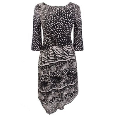 Feather Print Dress - neckline: round neck; fit: tailored/fitted; predominant colour: black; occasions: evening; length: just above the knee; style: asymmetric (hem); fibres: polyester/polyamide - 100%; material texture: chiffon; pattern: graphic print, patterned/print; trends: prints; sleeve length: 3/4 length; sleeve style: standard; texture group: sheer fabrics/chiffon/organza etc.; pattern type: fabric; pattern size: standard
