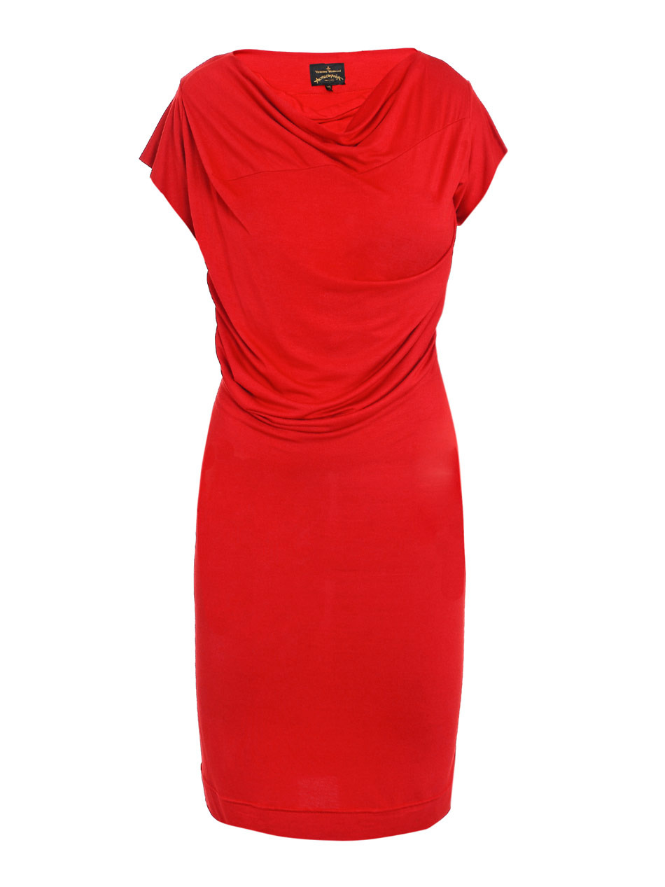 Boudicca Drape Jersey Dress - style: shift; neckline: cowl/draped neck; pattern: plain; waist detail: twist front waist detail/nipped in at waist on one side/soft pleats/draping/ruching/gathering waist detail; hip detail: fitted at hip, soft pleats at hip/draping at hip/flared at hip; bust detail: ruching/gathering/draping/layers/pintuck pleats at bust; predominant colour: true red; occasions: evening, occasion; length: just above the knee; fit: body skimming; fibres: polyester/polyamide - stretch; material texture: jersey; sleeve length: short sleeve; sleeve style: standard; pattern type: fabric; pattern size: standard; texture group: jersey - stretchy/drapey