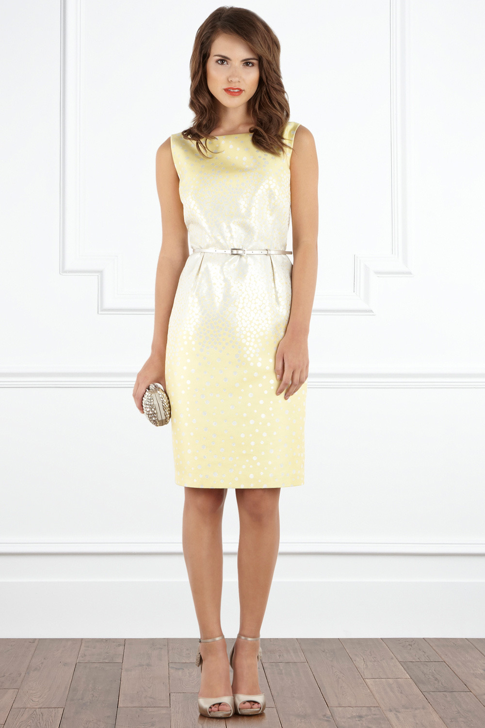 Beverley Dress - style: shift; neckline: slash/boat neckline; pattern: lightly patterned, two-tone, patterned/print; sleeve style: sleeveless; waist detail: fitted waist, belted waist/tie at waist/drawstring; predominant colour: primrose yellow; occasions: evening, occasion; length: on the knee; fit: body skimming; fibres: polyester/polyamide - mix; material texture: chiffon; hip detail: structured pleats at hip; trends: pastels; sleeve length: sleeveless; texture group: sheer fabrics/chiffon/organza etc.; pattern type: fabric; pattern size: small & light