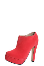 Anya Coral Suedette Platform Shoe Boots - predominant colour: coral; material: suede; heel height: high; heel: platform; toe: round toe; boot length: shoe boot; style: standard