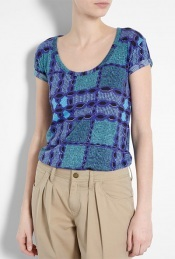 Blue Tribal Jersey T Shirt - pattern: heavily patterned, print, patterned/print; style: t-shirt; predominant colour: royal blue; occasions: casual; length: standard; neckline: scoop; fibres: cotton - 100%; material texture: jersey; fit: body skimming; trends: prints, aquatic; sleeve length: short sleeve; sleeve style: standard; pattern type: fabric; pattern size: big &amp; busy; texture group: jersey - stretchy/drapey