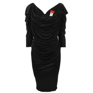 Glaze Jersey Three Quarter Sleeve Dress - style: shift; neckline: cowl/draped neck; fit: tailored/fitted; pattern: plain; back detail: low cut/open back; waist detail: twist front waist detail/nipped in at waist on one side/soft pleats/draping/ruching/gathering waist detail; bust detail: ruching/gathering/draping/layers/pintuck pleats at bust; predominant colour: black; occasions: evening; length: on the knee; fibres: polyester/polyamide - 100%; material texture: jersey; sleeve length: 3/4 length; sleeve style: standard; pattern type: fabric; pattern size: standard; texture group: jersey - stretchy/drapey