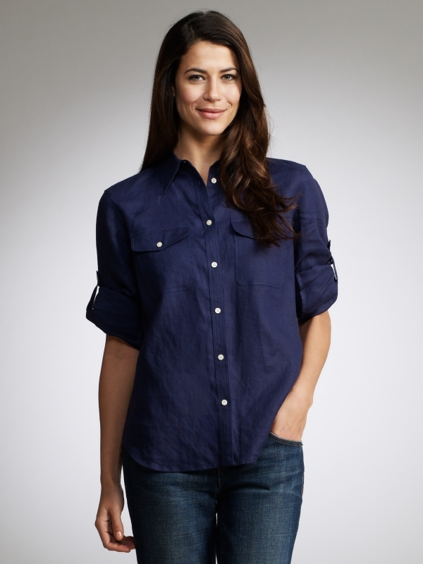 Casual Shirt, Navy - neckline: shirt collar/peter pan/zip with opening; pattern: plain; bust detail: added detail/embellishment at bust, buttons at bust (in middle at breastbone)/zip detail at bust; style: shirt; predominant colour: navy; occasions: casual, work; length: standard; fibres: linen - 100%; material texture: calico; fit: loose; hip detail: dip hem; shoulder detail: discreet epaulette; trends: aquatic; sleeve length: long sleeve; sleeve style: standard; texture group: cotton feel fabrics; pattern type: fabric; pattern size: standard