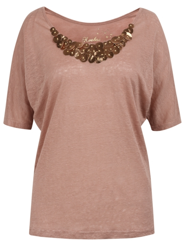 Embellished Collar Linen Top, Dusty Pink - sleeve style: dolman/batwing; bust detail: added detail/embellishment at bust; predominant colour: blush; occasions: casual, evening, work; length: standard; style: top; neckline: scoop; fibres: linen - 100%; material texture: jersey; fit: body skimming; pattern type: fabric; pattern size: standard; texture group: jersey - stretchy/drapey; embellishment: sequins