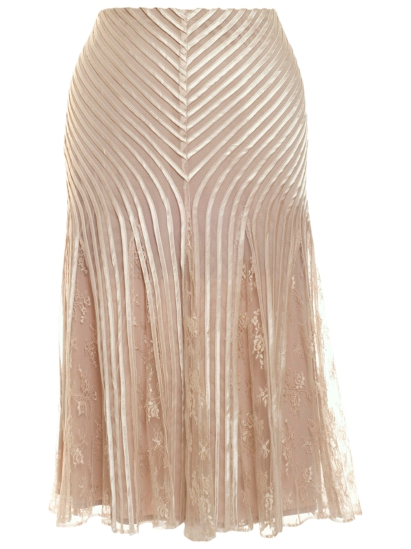 Champagne Skirt, Champagne - length: below the knee; pattern: plain, metallic, striped, lace; fit: body skimming; waist detail: fitted waist; hip detail: fitted at hip; waist: mid/regular rise; predominant colour: champagne; occasions: evening, occasion; style: fit & flare; fibres: polyester/polyamide - 100%; material texture: metallic; trends: pastels, aquatic; pattern type: fabric; pattern size: standard