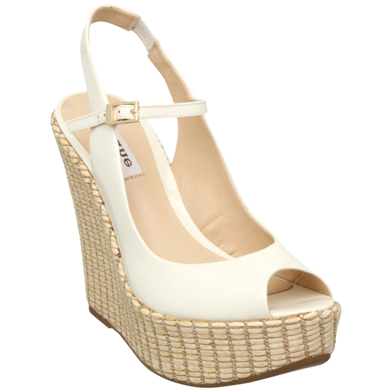 Grovehurst Leather Wedge Sandals, Off White - predominant colour: ivory; material: leather; heel height: high; embellishment: buckles; ankle detail: ankle strap; heel: wedge; toe: open toe/peeptoe; style: strappy