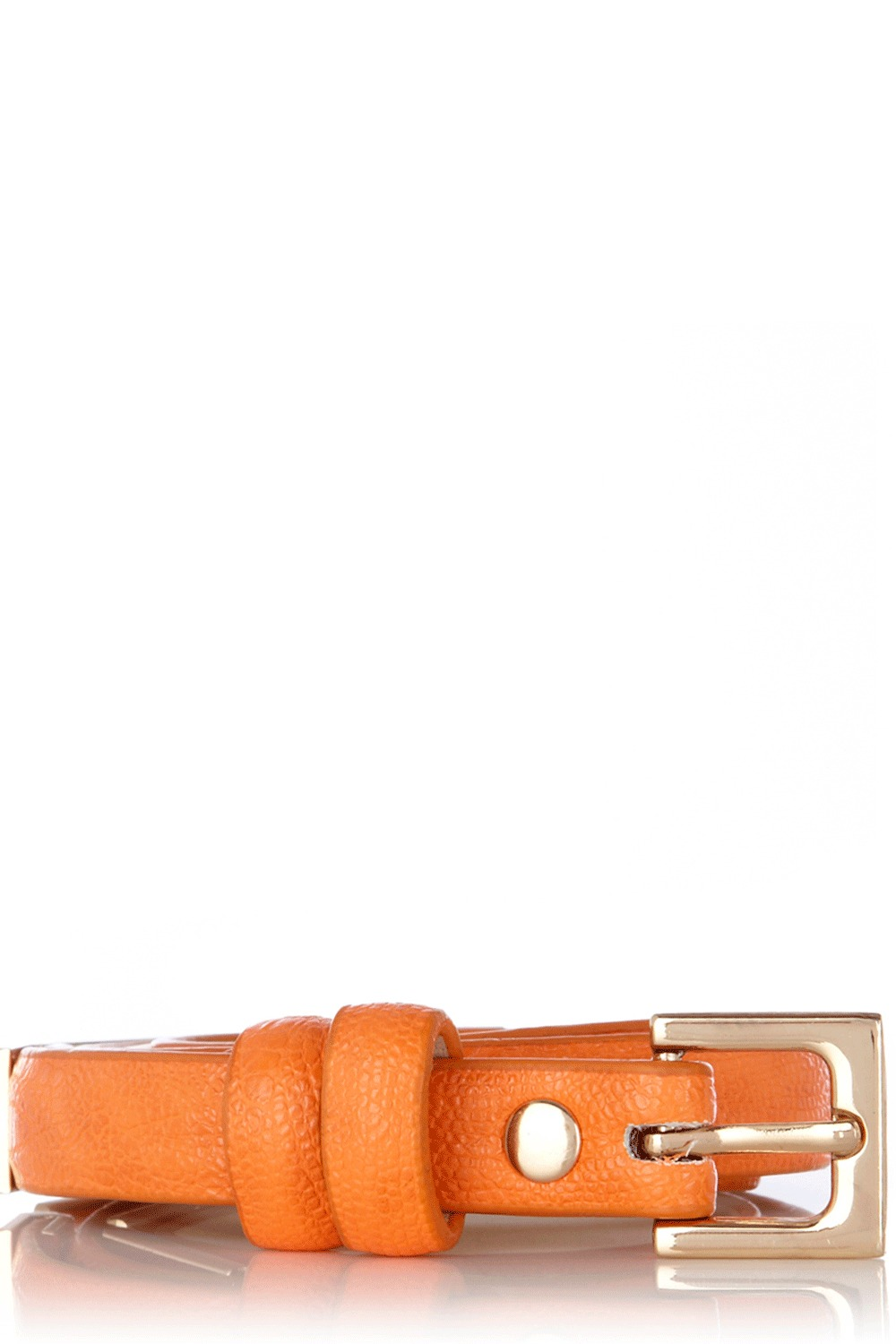 Faux Snake Metal Fitting Belt - predominant colour: bright orange; style: classic; size: skinny; worn on: waist; material: faux leather; pattern: plain