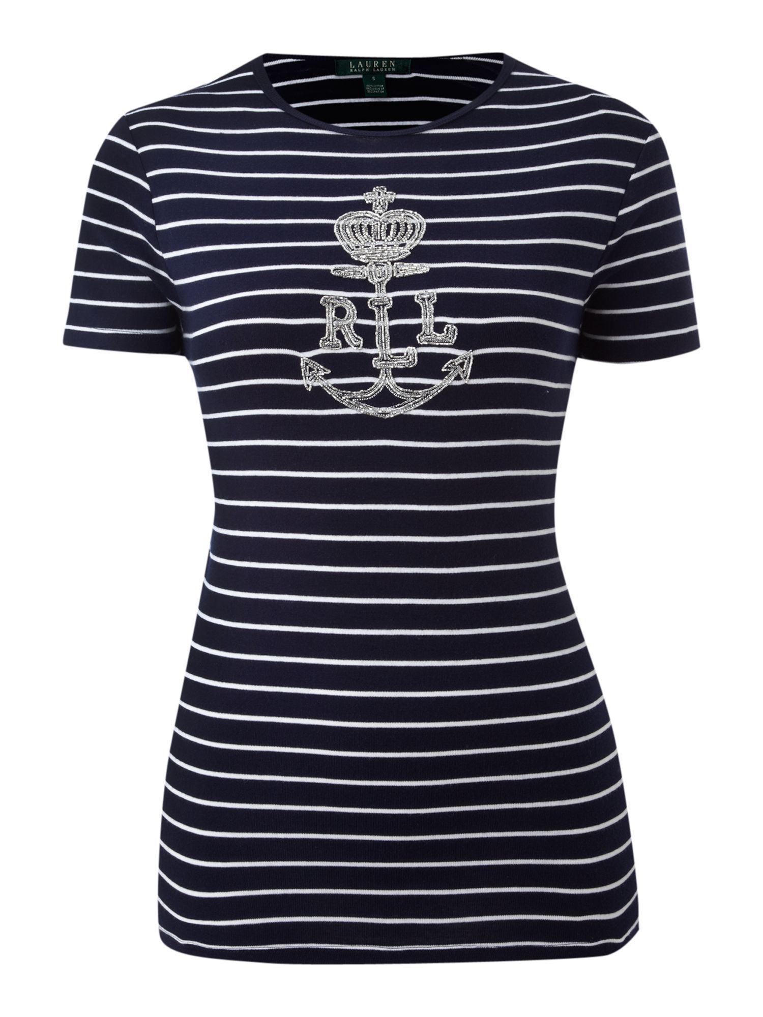 Women's Charissa Short Sleeve Top With Anchor, Navy - neckline: round neck; pattern: horizontal stripes, heavily patterned, print, picture design, patterned/print; waist detail: fitted waist; style: t-shirt; predominant colour: navy; occasions: casual; length: standard; fibres: cotton - 100%; material texture: jersey; fit: body skimming; sleeve length: short sleeve; sleeve style: standard; pattern type: fabric; pattern size: big & busy; texture group: jersey - stretchy/drapey