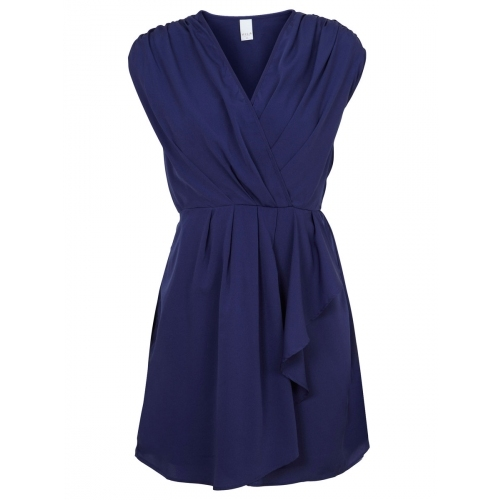 Carolin Dress   Xs / Blue - style: faux wrap/wrap; length: mid thigh; neckline: v-neck; sleeve style: capped; fit: fitted at waist; pattern: plain; waist detail: fitted waist, twist front waist detail/nipped in at waist on one side/soft pleats/draping/ruching/gathering waist detail, belted waist/tie at waist/drawstring; bust detail: ruching/gathering/draping/layers/pintuck pleats at bust; predominant colour: royal blue; occasions: casual, evening, work; fibres: polyester/polyamide - 100%; material texture: jersey; hip detail: ruching/gathering at hip, soft pleats at hip/draping at hip/flared at hip; shoulder detail: flat/draping pleats/ruching/gathering at shoulder; trends: aquatic; sleeve length: short sleeve; pattern type: fabric; pattern size: standard; texture group: jersey - stretchy/drapey
