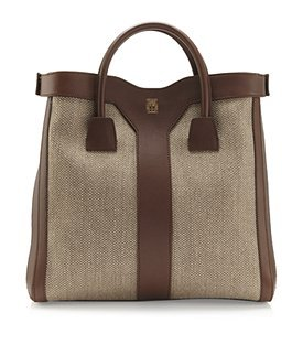 Double Y Linen And Leather Tote - predominant colour: chocolate brown; style: tote; length: handle; size: standard; material: leather; pattern: plain, two-tone