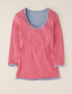 Double Layer Tee - pattern: plain, two-tone; style: t-shirt; shoulder detail: contrast pattern/fabric at shoulder; predominant colour: pink; occasions: casual; length: standard; neckline: scoop; fibres: cotton - 100%; material texture: jersey; fit: body skimming; hip detail: contrast fabric/print detail at hip; trends: pastels; sleeve length: 3/4 length; sleeve style: standard; pattern type: fabric; pattern size: standard; texture group: jersey - stretchy/drapey