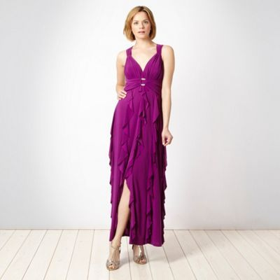 Designer Purple Jersey Ruffle Dress - neckline: plunge; pattern: plain; sleeve style: sleeveless; style: maxi dress; predominant colour: purple; occasions: casual, evening; length: floor length; fit: fitted at waist &amp; bust; fibres: polyester/polyamide - stretch; material texture: jersey; hip detail: ruching/gathering at hip; waist detail: ruffles at waist; back detail: crossover; sleeve length: sleeveless; pattern type: fabric; pattern size: standard; texture group: jersey - stretchy/drapey
