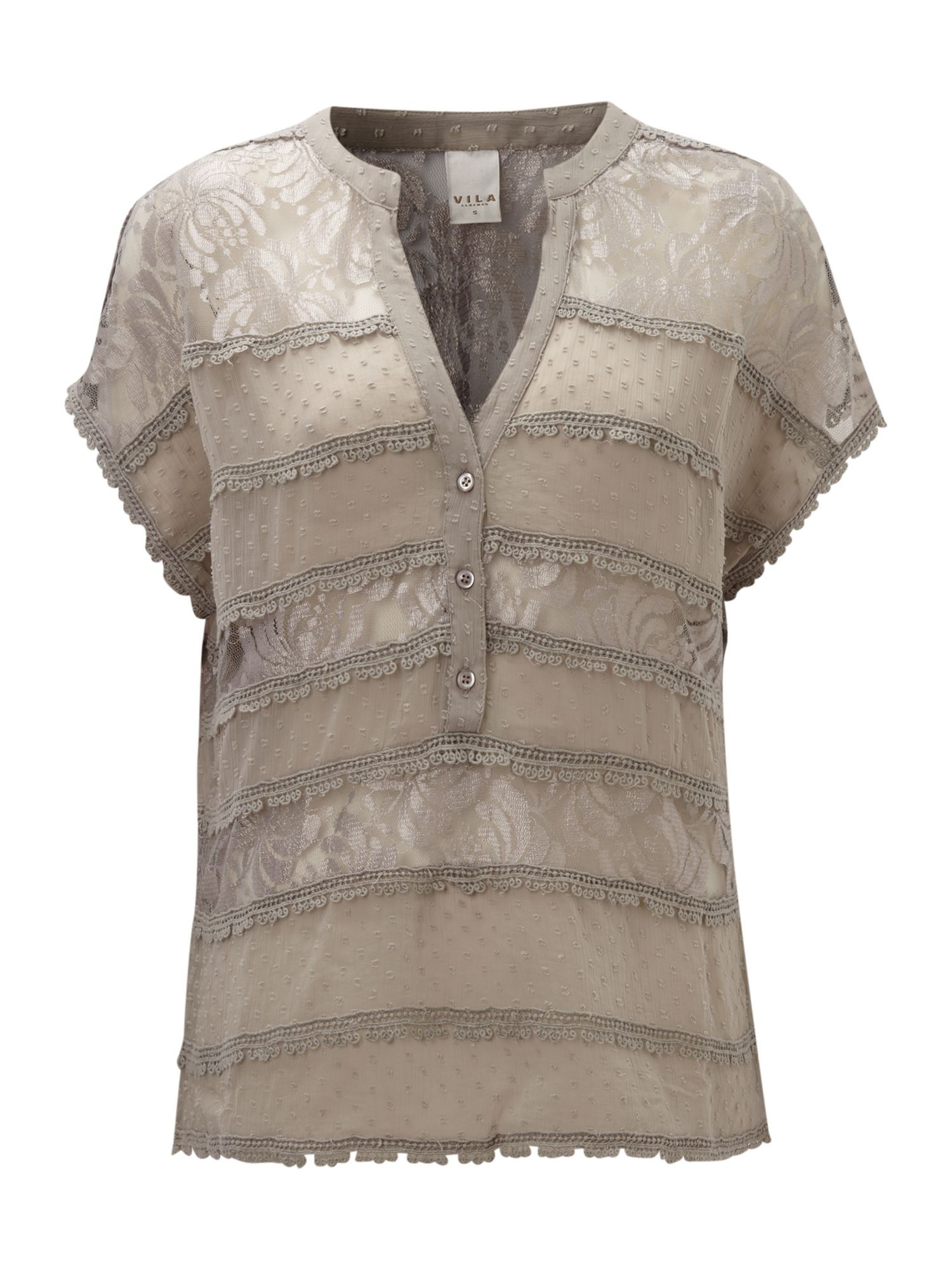 Women's Short Sleeve 3 Button Sheer Top, Paloma - pattern: plain, lightly patterned, lace, patterned/print; style: blouse; shoulder detail: contrast pattern/fabric at shoulder; bust detail: buttons at bust (in middle at breastbone)/zip detail at bust; predominant colour: taupe; occasions: evening, work; length: standard; neckline: mandarin with v-neck; fibres: polyester/polyamide - 100%; material texture: lace; fit: straight cut; trends: prints; sleeve length: short sleeve; sleeve style: standard; texture group: lace; pattern type: fabric; pattern size: small & light