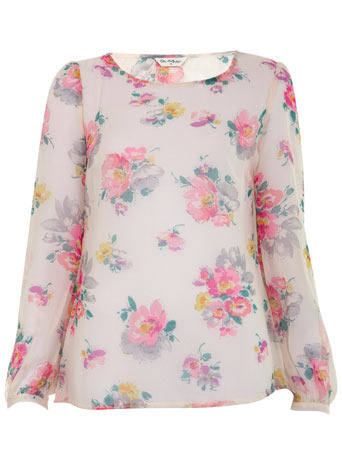 Floral Twist Back Top - neckline: round neck; pattern: floral - light, florals; predominant colour: blush; occasions: casual; length: standard; style: top; fibres: polyester/polyamide - 100%; material texture: chiffon; fit: body skimming; trends: prints; sleeve length: 3/4 length; sleeve style: standard; texture group: sheer fabrics/chiffon/organza etc.; pattern type: fabric; pattern size: small & light