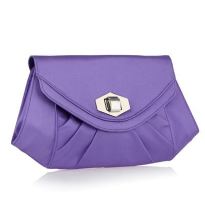 Purple Pleated Twist Lock Clutch Bag - predominant colour: lilac; style: clutch; length: hand carry; size: mini; material: fabric; embellishment: pleated; pattern: plain