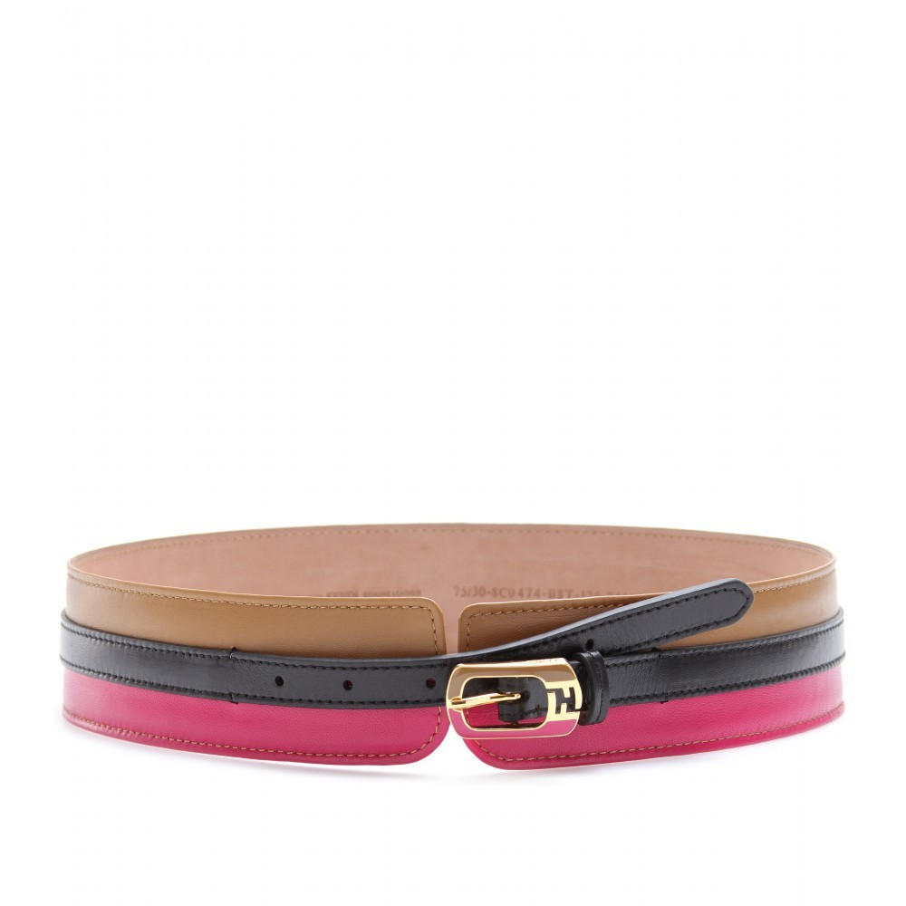 Color Block Leather Belt - predominant colour: multicoloured; style: classic; size: standard; worn on: waist; material: leather; pattern: horizontal stripes, monogram, plain