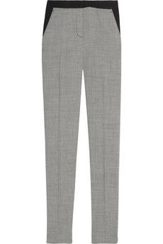 Houndstooth Stretch Wool Straight Leg Pants - length: standard; pocket detail: small back pockets, pockets at the sides; waist: mid/regular rise; predominant colour: mid grey; occasions: evening, work; fibres: wool - stretch; material texture: denim; trends: prints; texture group: denim; fit: straight leg; style: standard