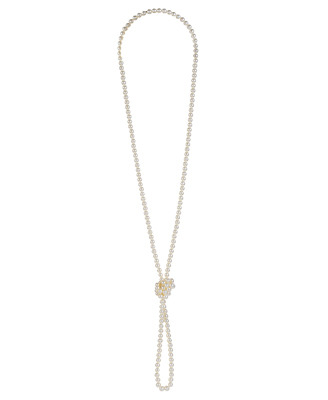Knotted Pearlescent Necklace - predominant colour: ivory; style: standard; length: long; size: standard; material: pearl; embellishment: pearls