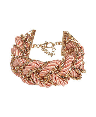 Braided Bracelet - predominant colour: pink; style: bangle; size: large/oversized; material: fabric