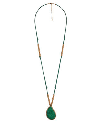 Knotted Rings Necklace - predominant colour: emerald green; style: pendant; length: long; size: standard; material: leather