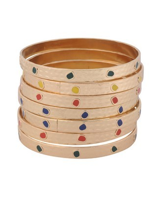 Colorful Bangle Set - predominant colour: gold; style: bangle; size: large/oversized; material: chain/metal