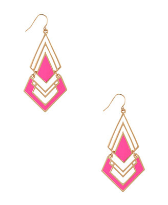 Lacquered Geo Earrings - predominant colour: yellow; style: drop; length: long; size: standard; material: chain/metal; fastening: pierced