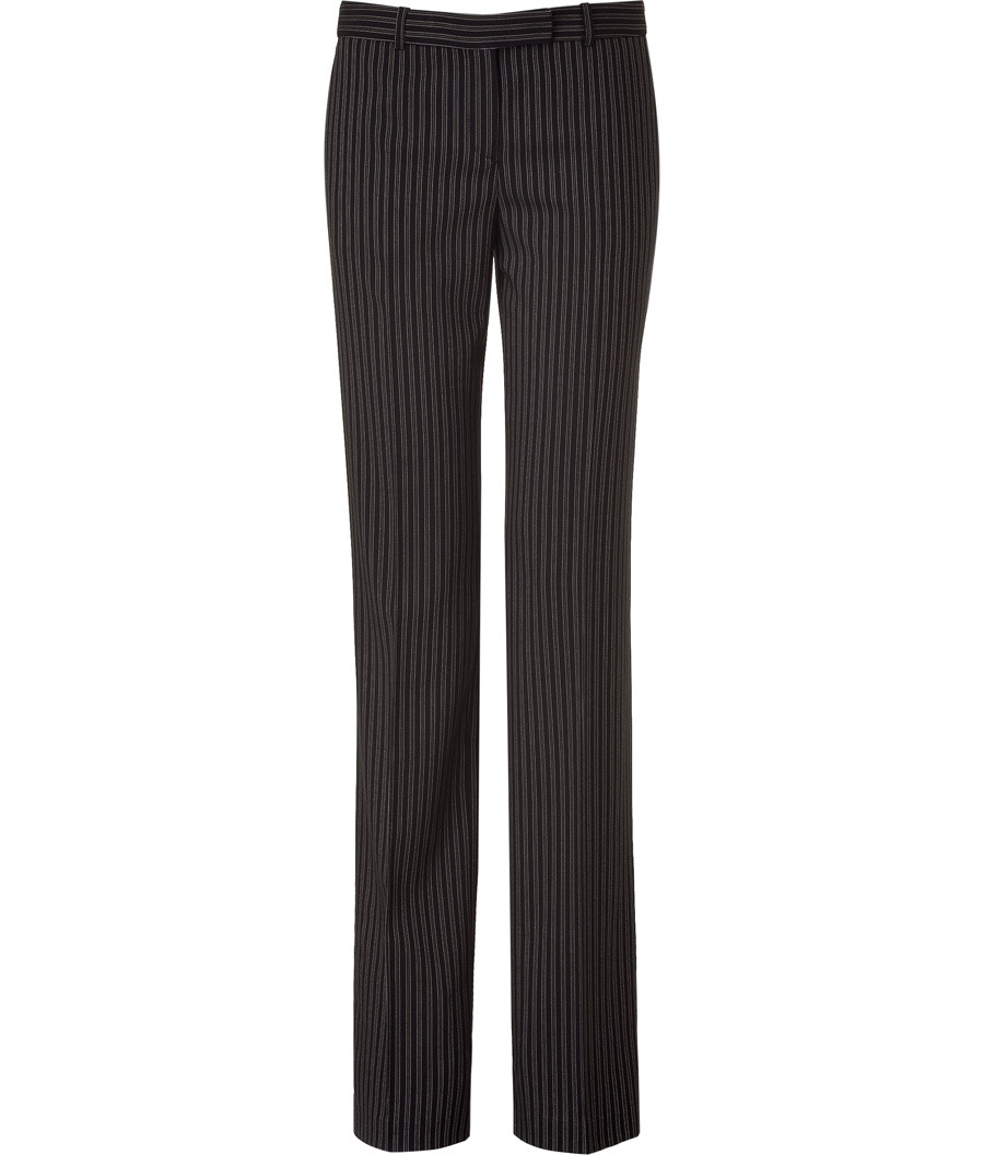 Black And Ivory Striped Pants - length: standard; pocket detail: small back pockets, pockets at the sides; waist: low rise; predominant colour: black; occasions: casual, work; fibres: wool - 100%; material texture: chiffon; hip detail: fitted at hip (bottoms); waist detail: narrow waistband; texture group: sheer fabrics/chiffon/organza etc.; fit: straight leg; style: standard