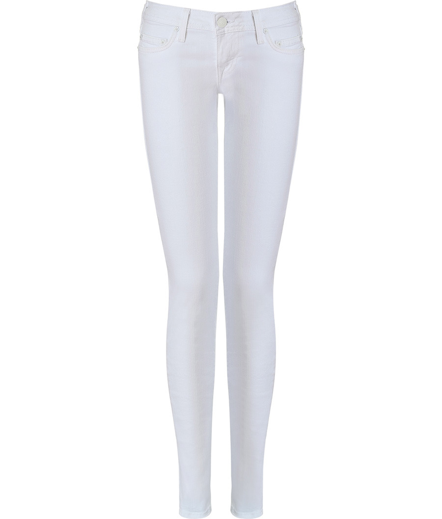 White Alex Phantom Skinny Jeans - style: skinny leg; pattern: plain; pocket detail: traditional 5 pocket; waist: mid/regular rise; predominant colour: white; occasions: casual; length: ankle length; fibres: cotton - stretch; material texture: denim; trends: white; texture group: denim; pattern type: fabric; pattern size: standard