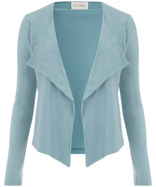 Turquoise Waterfall Jersey Jacket, Size: L - pattern: plain; bust detail: added detail/embellishment at bust; collar: shawl/waterfall; style: tailored/fitted; predominant colour: mint green; occasions: casual, work; length: standard; fit: tailored/fitted; fibres: cotton - 100%; material texture: jersey; hip detail: dip hem; back detail: shorter hem at back than at front; trends: pastels; sleeve length: long sleeve; sleeve style: standard; collar break: low/open; pattern type: fabric; pattern size: standard; texture group: jersey - stretchy/drapey
