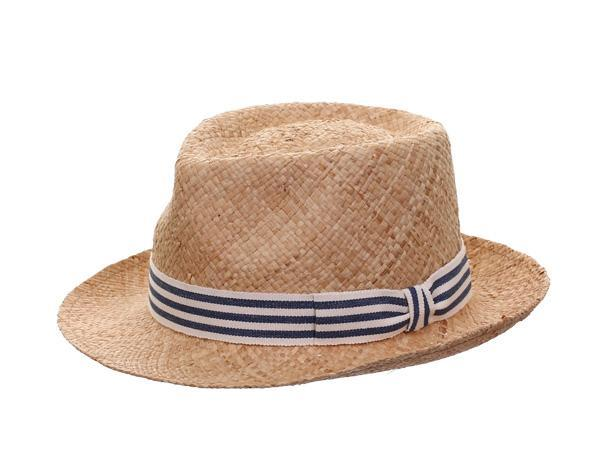Clyde Raffia - predominant colour: stone; style: trilby; size: standard; material: macrame/raffia/straw; embellishment: ribbon; pattern: striped