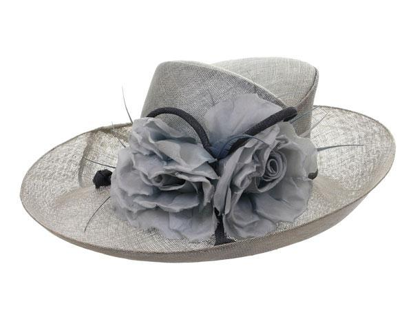 The Clarence - predominant colour: light grey; style: wide brimmed; size: large; material: satin; embellishment: feather; pattern: plain