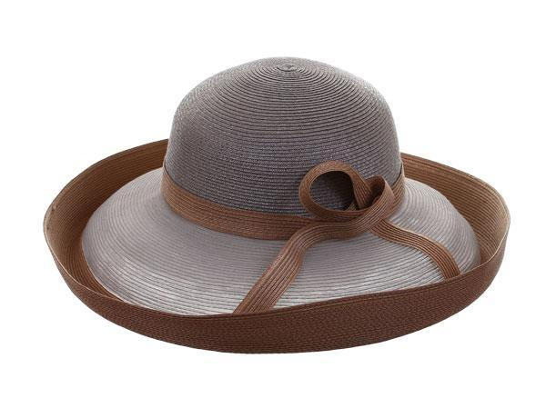 Vita Media - predominant colour: taupe; style: brimmed; size: standard; material: macrame/raffia/straw; embellishment: ribbon