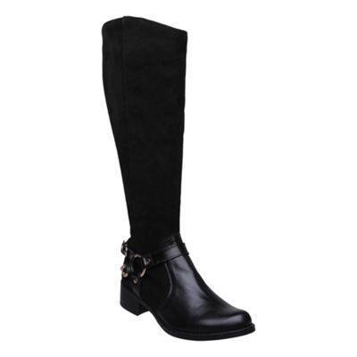 Black Halter Detail Riding Boot - predominant colour: black; material: leather; heel height: mid; embellishment: buckles; heel: block; toe: round toe; boot length: knee; style: riding
