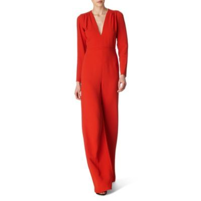 Wide Leg Jumpsuit - fit: loose; waist detail: fitted waist; length: extra long; predominant colour: bright orange; occasions: casual, evening; fibres: polyester/polyamide - 100%; trends: brights; texture group: lace; style: jumpsuit
