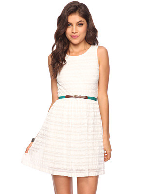 Lace Dress - length: mid thigh; neckline: round neck; fit: fitted at waist; pattern: plain, lace; sleeve style: sleeveless; waist detail: elasticated waist, fitted waist; predominant colour: ivory; occasions: casual, evening, occasion; style: fit & flare; fibres: nylon - mix; material texture: lace; back detail: keyhole/peephole detail at back; sleeve length: sleeveless; texture group: lace; pattern type: fabric; pattern size: standard