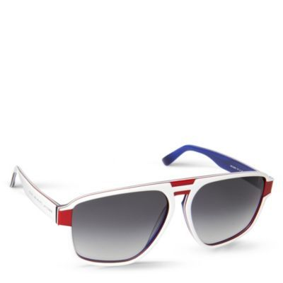 Tri Tone Aviator Sunglasses - predominant colour: white; style: aviator; size: large; material: plastic/rubber; pattern: plain, striped